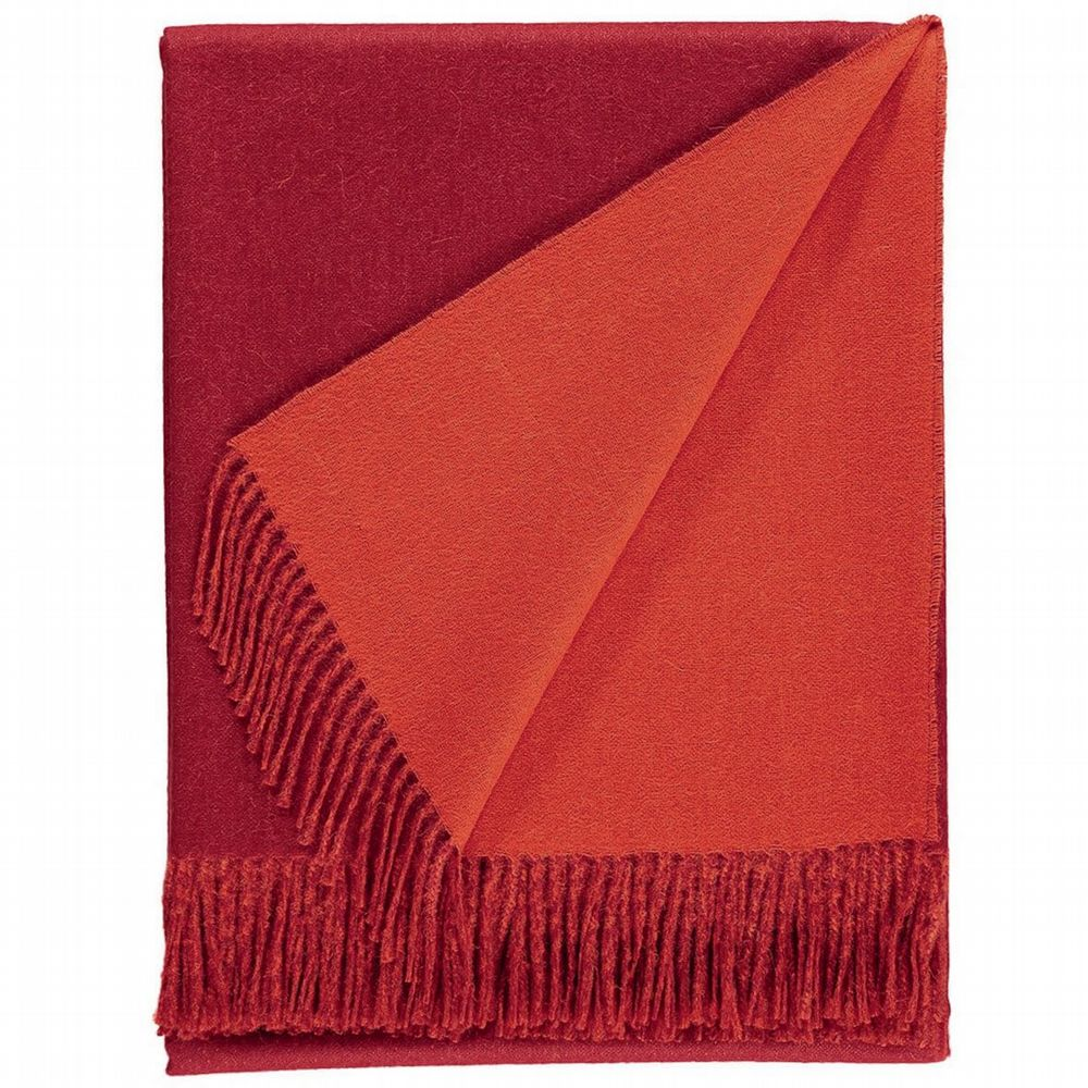 Baby Alpaca Wool - Two Tone Throw - Crimson Red & Deep Orange
